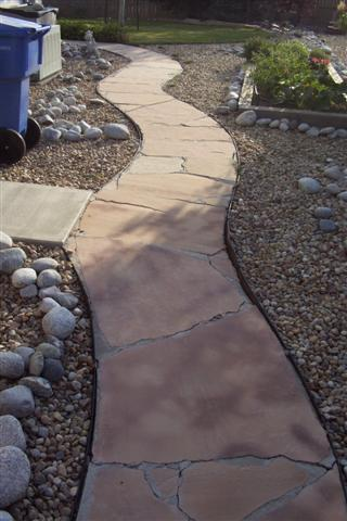 Existing flagstone walk before.