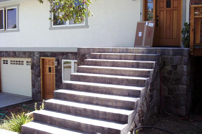 Entry porch and steps, seamless stone