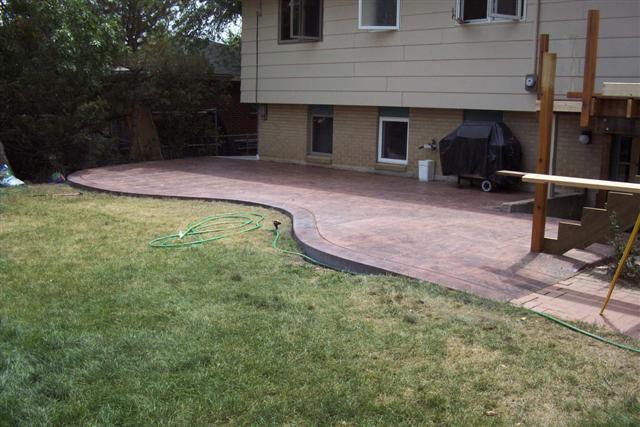 The patio and brick walkway.