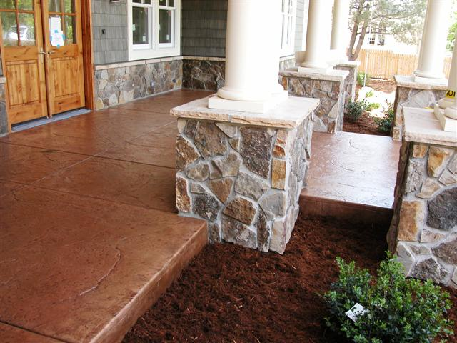 Entry porch, seamless stone at Catlin, 2400 Linden, Boulder