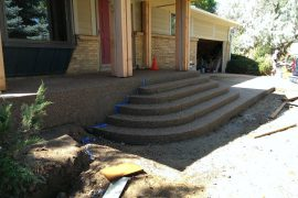 Exposed aggregate steps and front porch