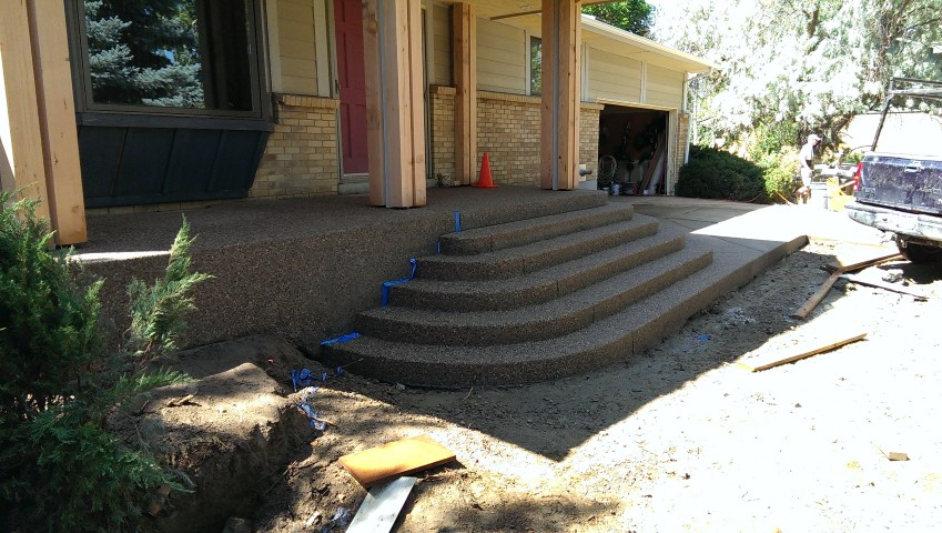 large curved steps on front of home