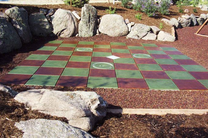 Patio and fountain Color Staining