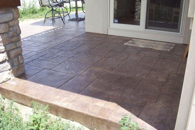 Large ashlar slate patio